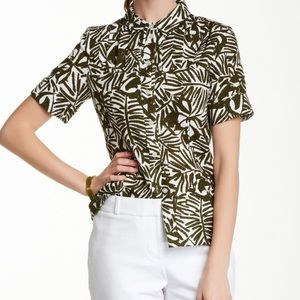 Kate Spade Green Orchid Print Button Down Top